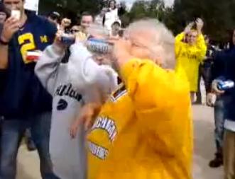 A Couple of Grandmas Shotgunning Beers