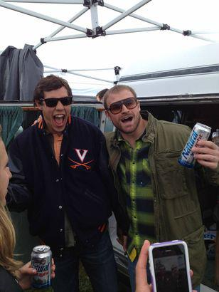 Sam Bradford and Chris Long of the St. Louis Rams pounding Natty at the Foxfield Races. TFM.