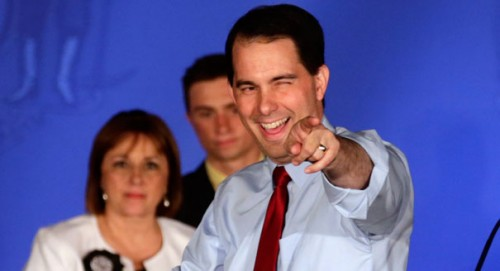 Governor Scott Walker throwing out the celebratory power point. TFM.