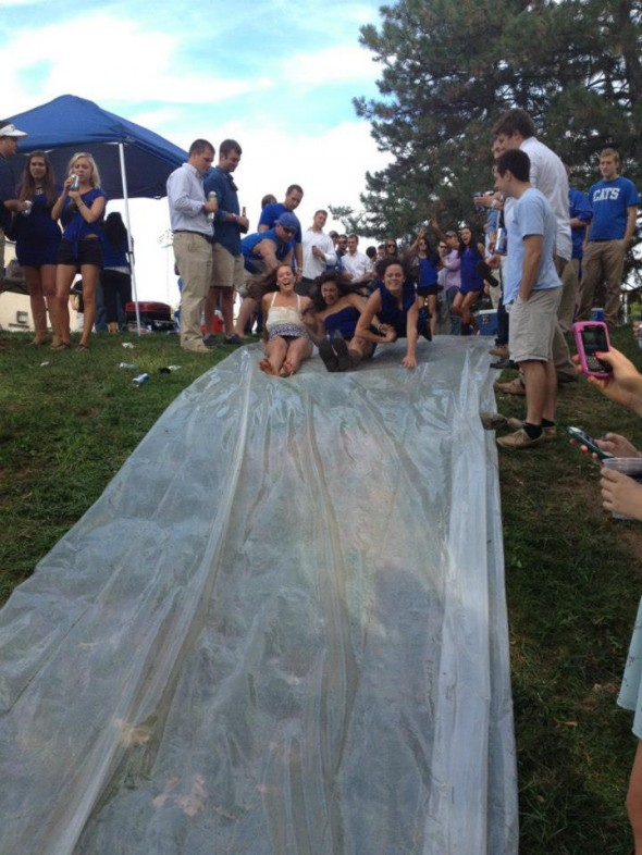 Slip 'n slide at tailgate. TFM.