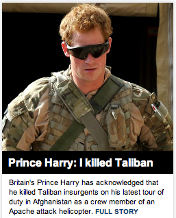 Prince Harry openly admitting to killing terrorists. TFM.