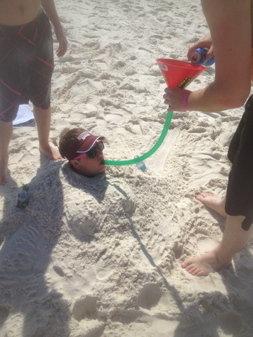 Fully buried beer bong.