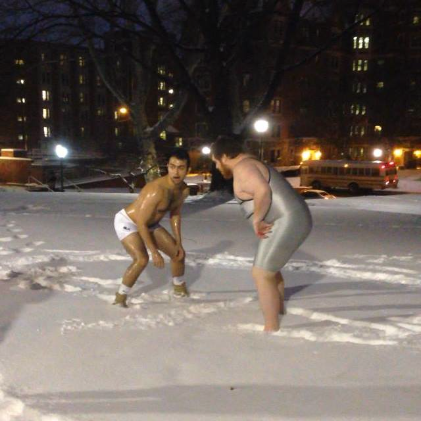 Oiled up snow wrestling. TFM.