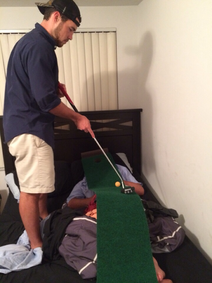 Practicing your putting on your passed out friend. TFM.