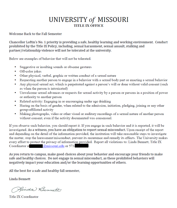 University of missouri will tolerate teletubby will not for Sexual harassment letter template