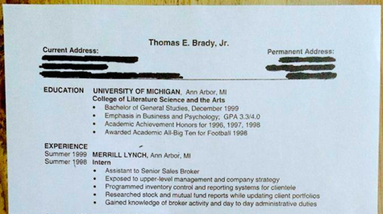total frat move tom brady shared his 1999 résumé with the world