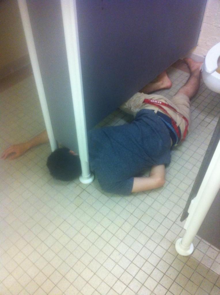 I hope he woke up and his head was stuck.