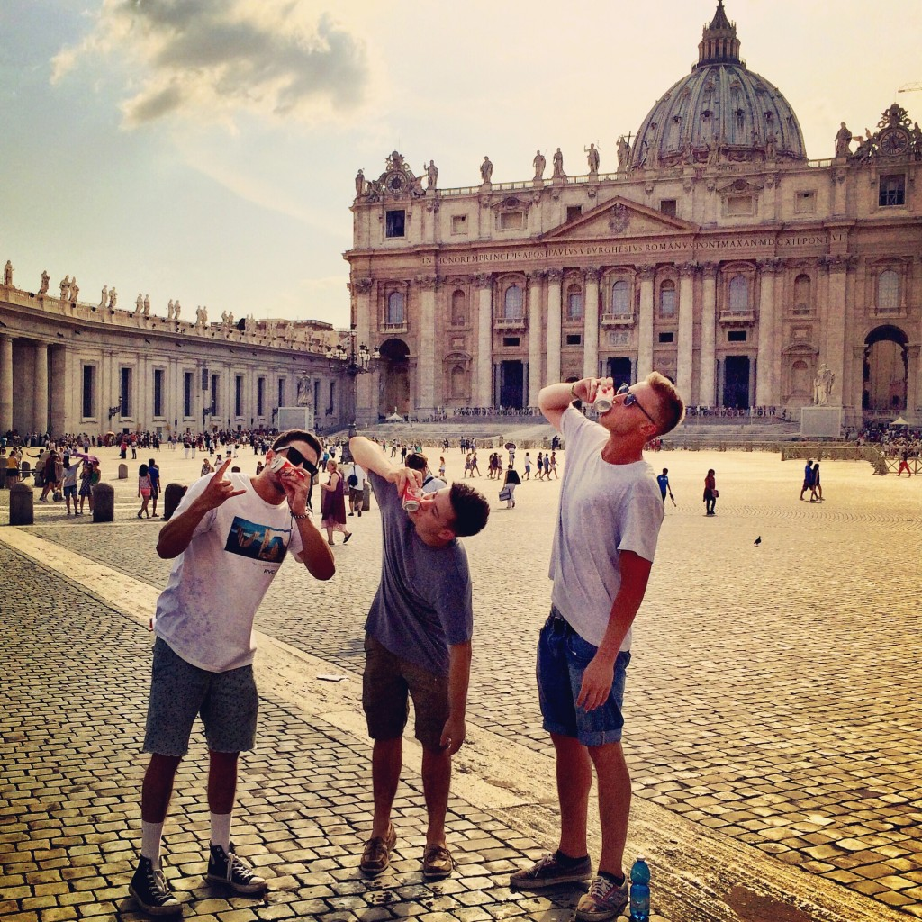 Shotgunning in front of the Vatican? Pretty sure thats a cardinal sin.